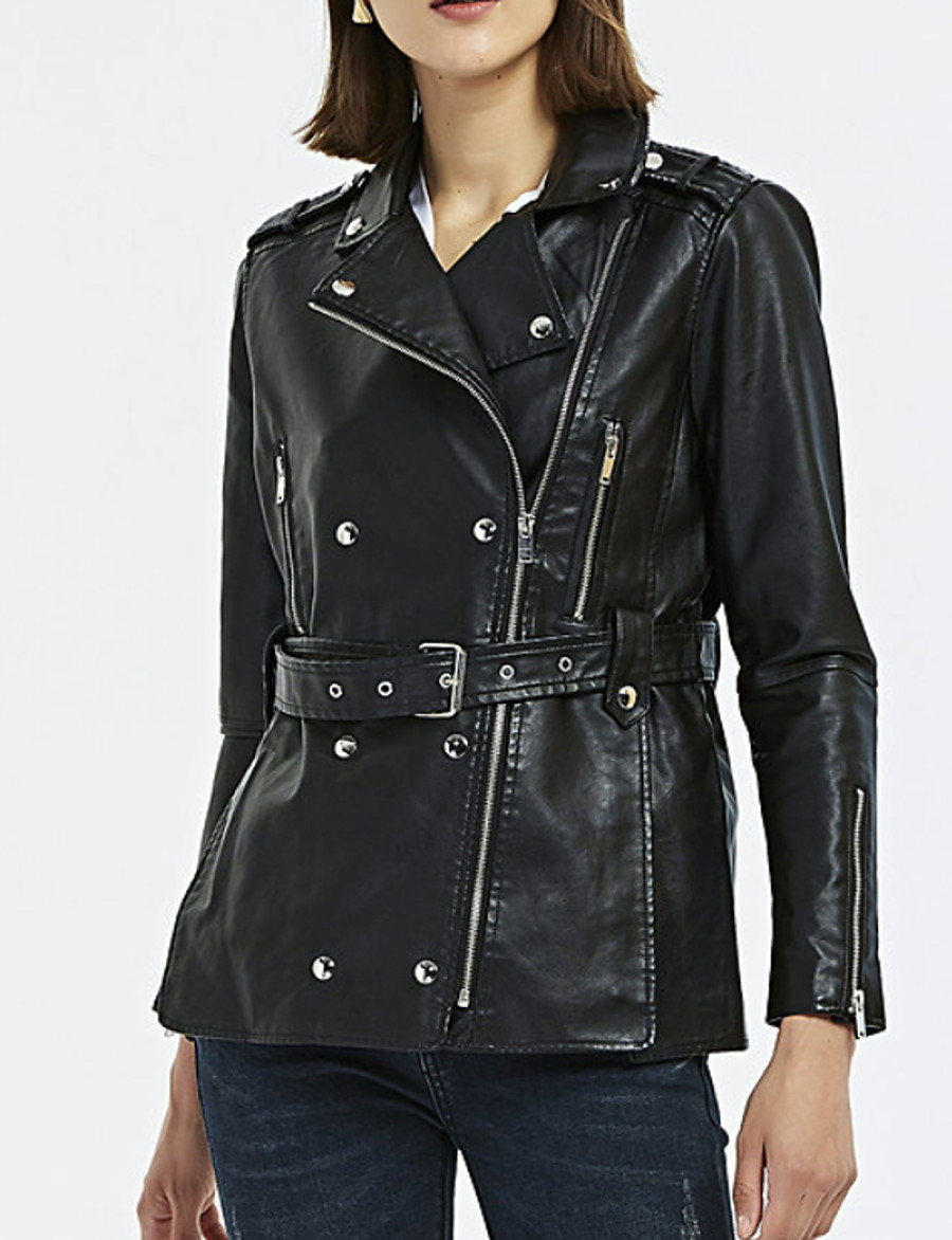 Women's Spring Jacket Regular Solid Colored Daily Black S M L