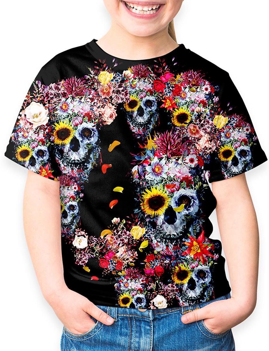 Kids Girls' T shirt Tee Short Sleeve Geometric Print Black Children Tops Basic Holiday