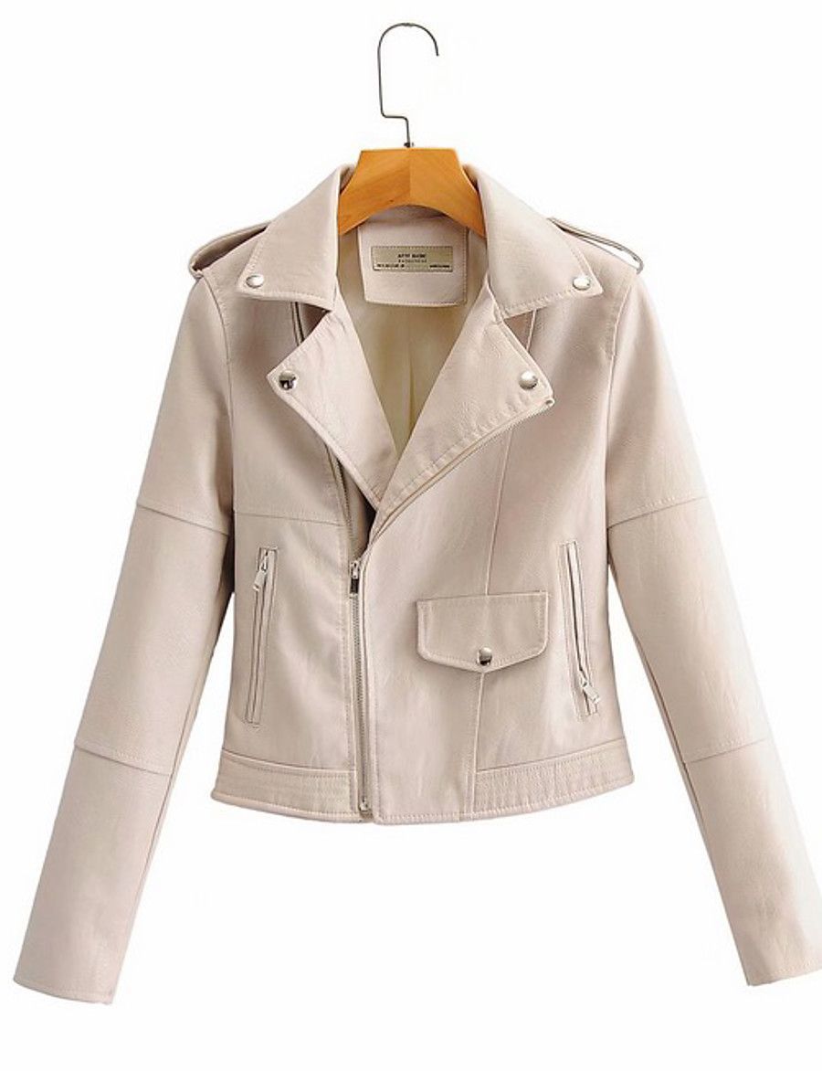 Women's Faux Leather Jacket Short Solid Colored Daily Black Yellow Green Beige M L XL