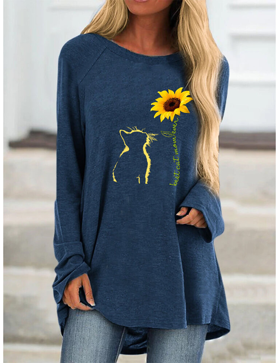 Women's T-shirt Floral Animal Flower Long Sleeve Print Round Neck Tops Loose Basic Basic Top Fuchsia Navy Blue