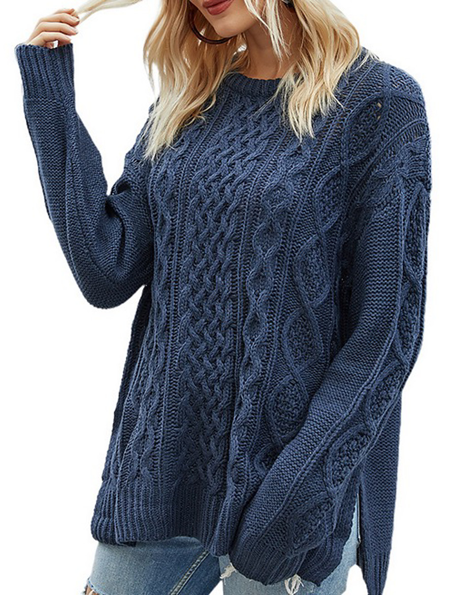 Women's Solid Colored Pullover Long Sleeve Loose Sweater Cardigans Crew Neck Round Neck Dusty Blue Beige