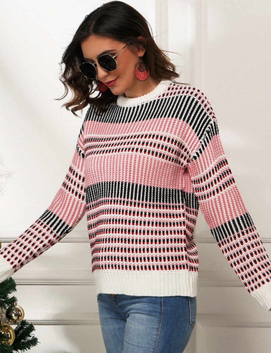 Women's Plaid Pullover Long Sleeve Loose Sweater Cardigans Round Neck Boat Neck Fall Rainbow