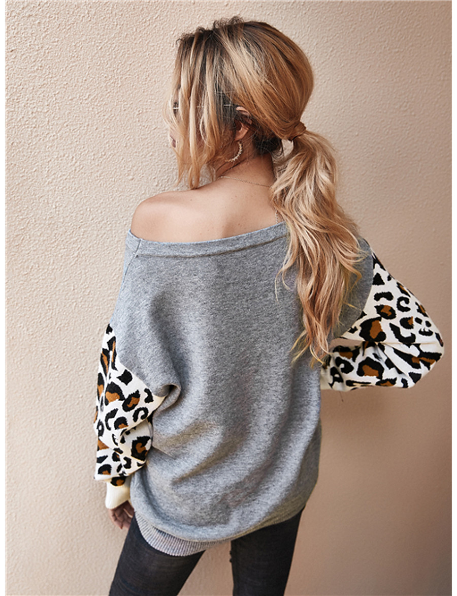 Women's Casual / Daily Leopard Color Block Cheetah Print Pullover Long Sleeve Sweater Cardigans Boat Neck Fall Winter Blue Army Green Orange