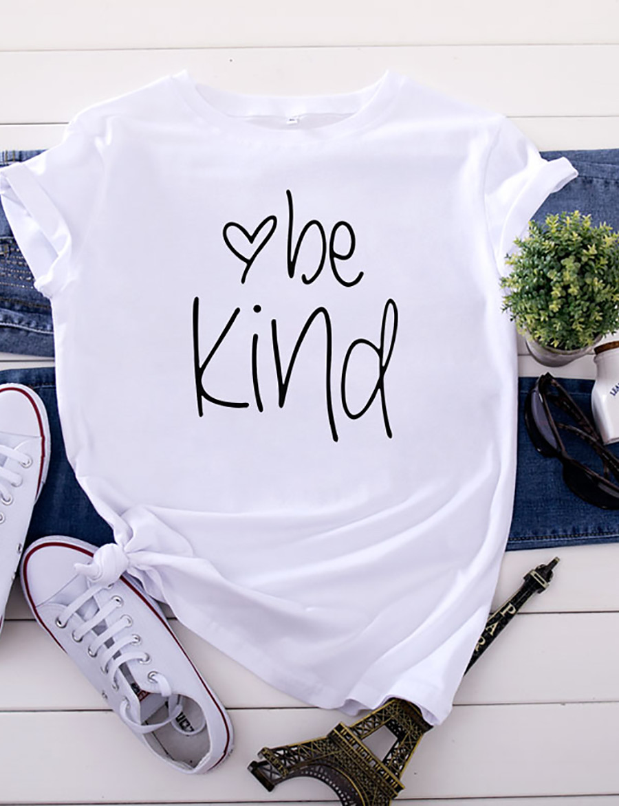 Women's Be kind T-shirt Letter Print Round Neck Tops 100% Cotton Basic Basic Top White Yellow Blushing Pink