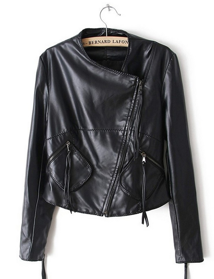 Women's Notch lapel collar Faux Leather Jacket Regular Solid Colored Daily Black M L XL