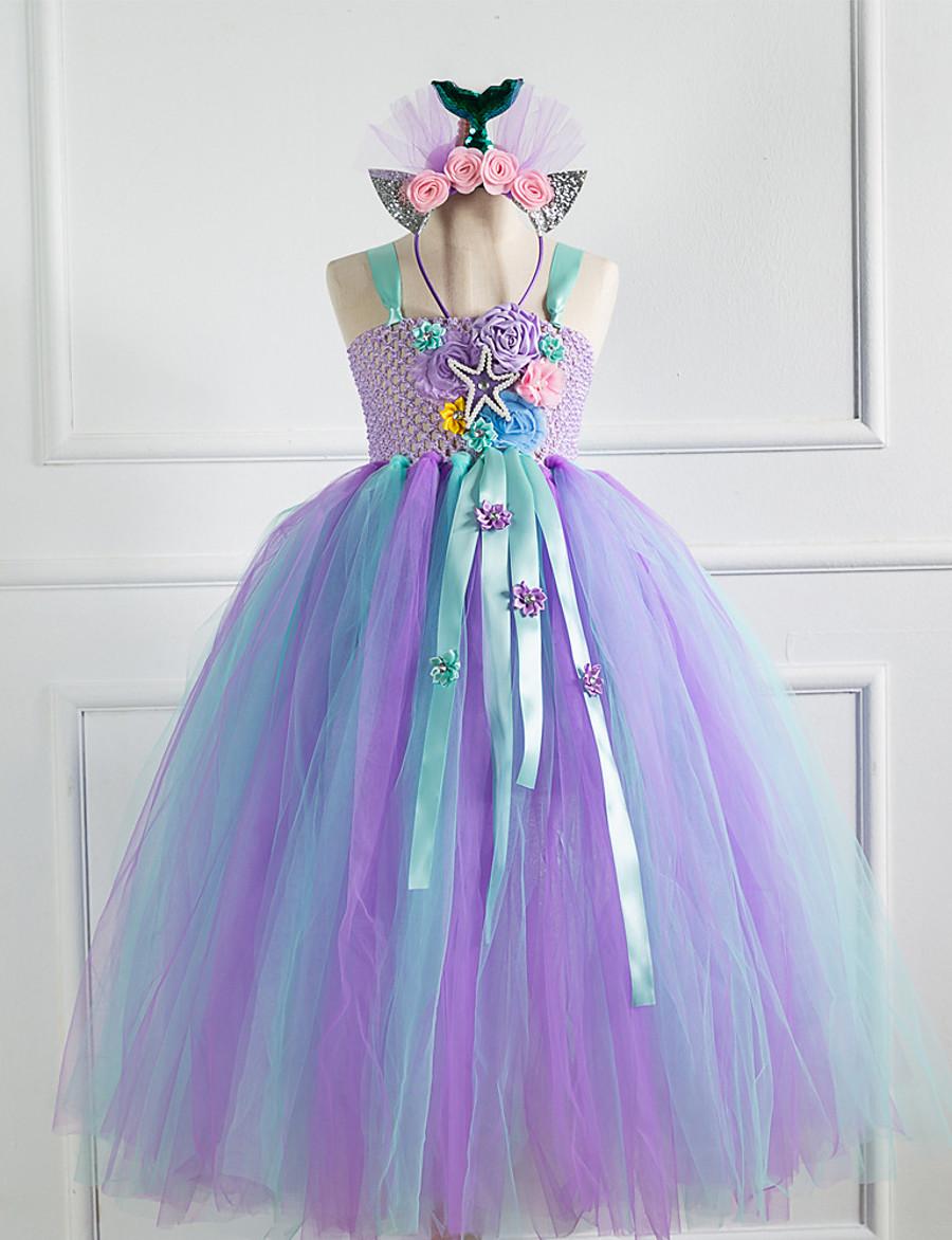 Kids Little Dress Girls' Patchwork Jacquard The Little Mermaid Tulle Dress Lace up Mesh Patchwork Purple Maxi Sleeveless Cute Dresses New Year Regular Fit