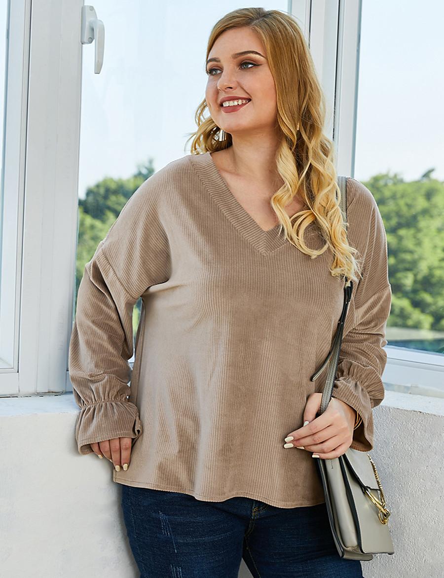 Women's Plus Size Blouse Shirt Solid Colored Long Sleeve V Neck Tops Loose Basic Basic Top Khaki