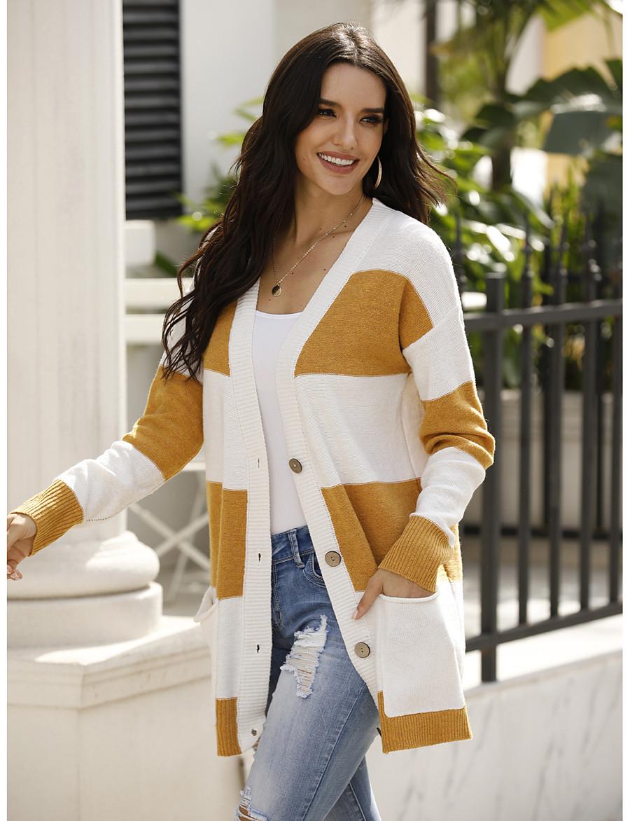 Women's Color Block Cardigan Long Sleeve Sweater Cardigans V Neck Fall Winter Yellow Khaki Green