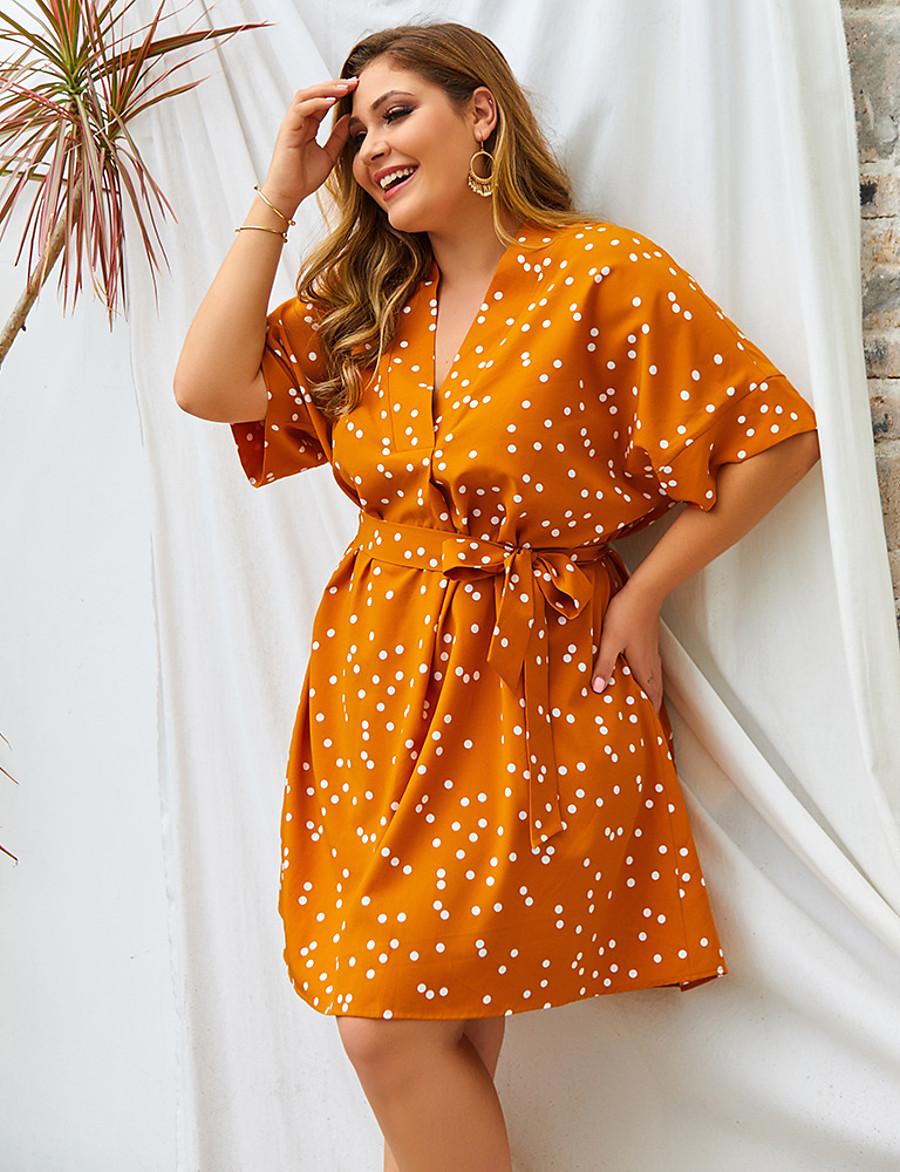 Women's A-Line Dress Short Mini Dress - Half Sleeve Polka Dot Print Spring Summer V Neck Plus Size Casual Loose 2020 White Yellow Green XL XXL 3XL 4XL