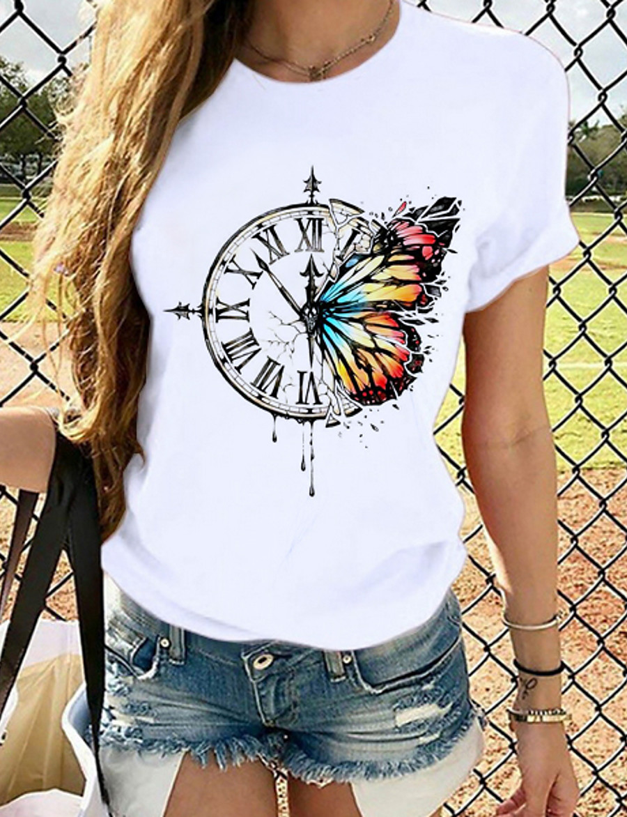 Women's T-shirt Butterfly Graphic Prints Round Neck Tops Slim 100% Cotton Basic Top Cat White Black