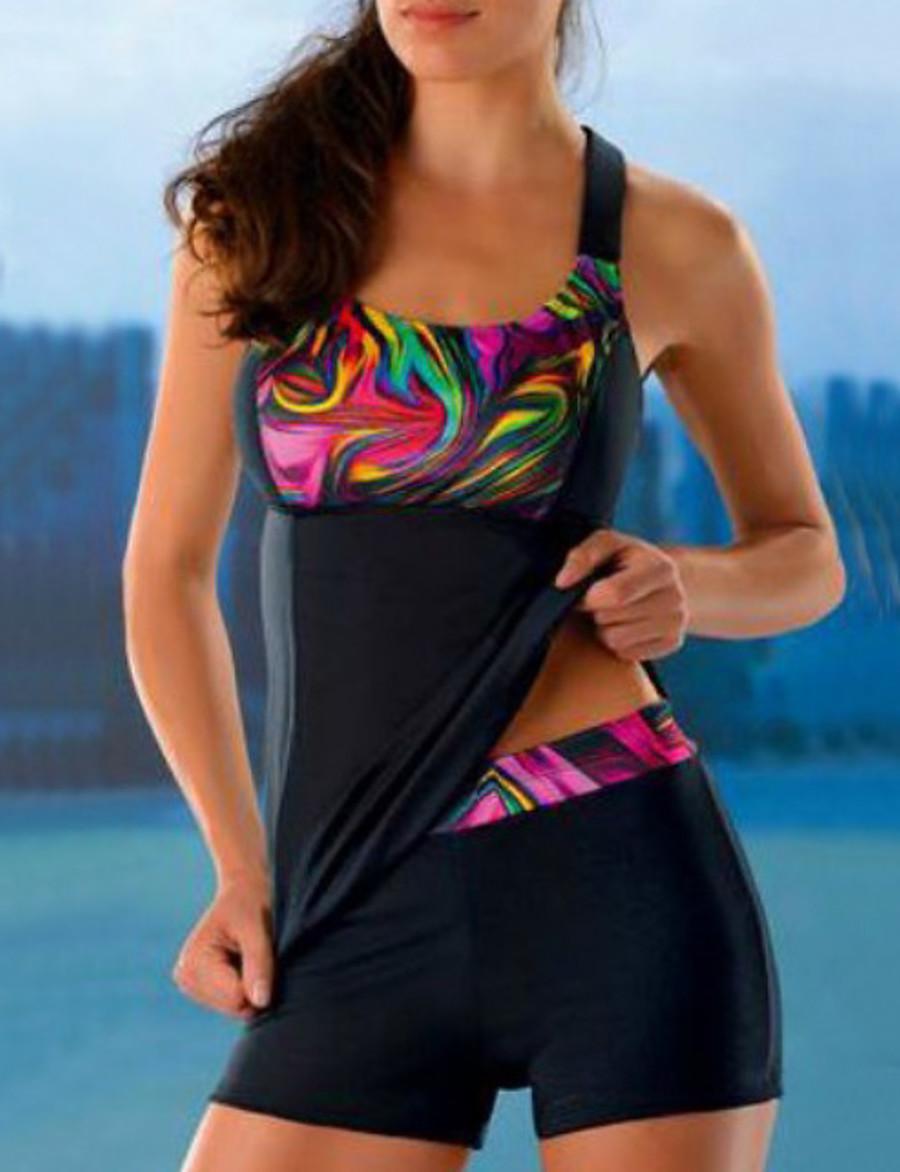 Women's Sexy Tankini Swimsuit Geometric Print Normal Swimwear Bathing Suits Black / Padded Bras