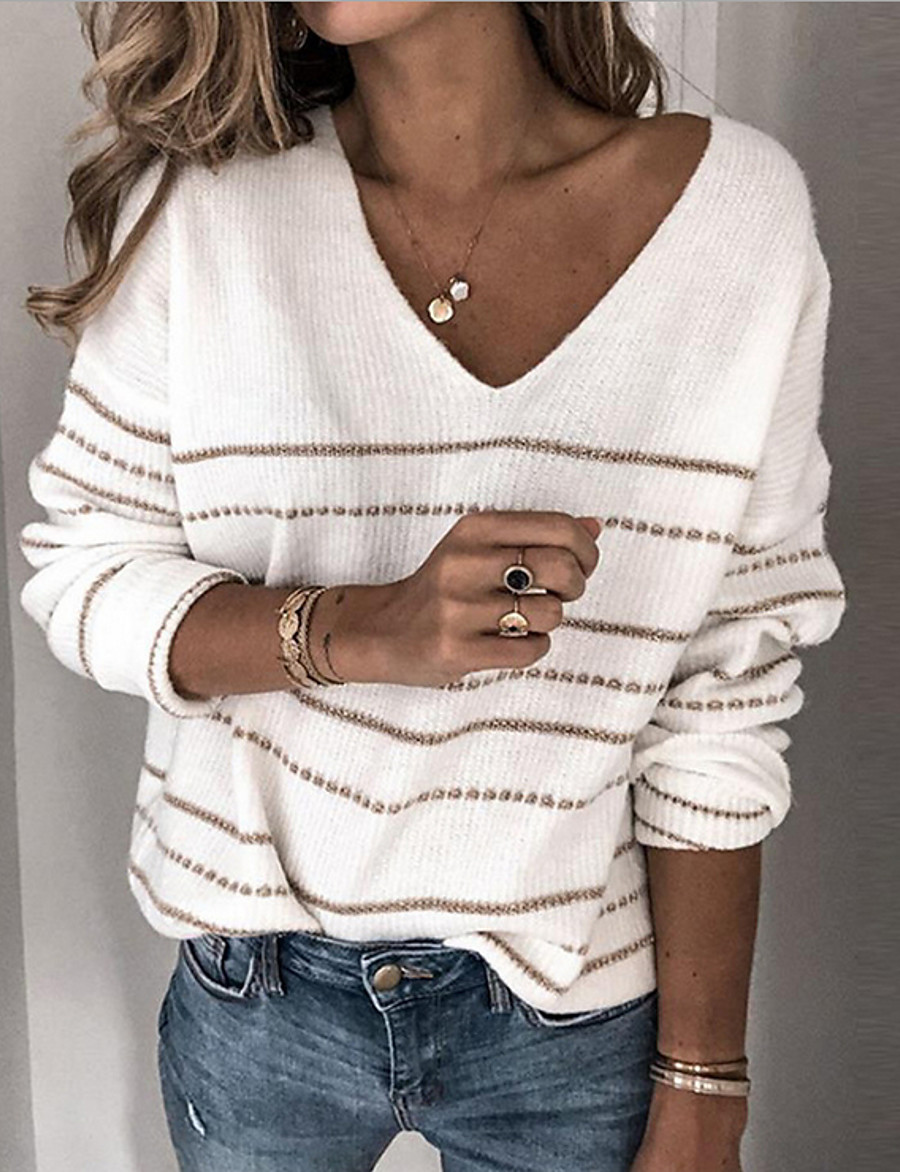 Women's Basic Striped Pullover Long Sleeve Loose Sweater Cardigans V Neck Fall Winter White Black Blushing Pink