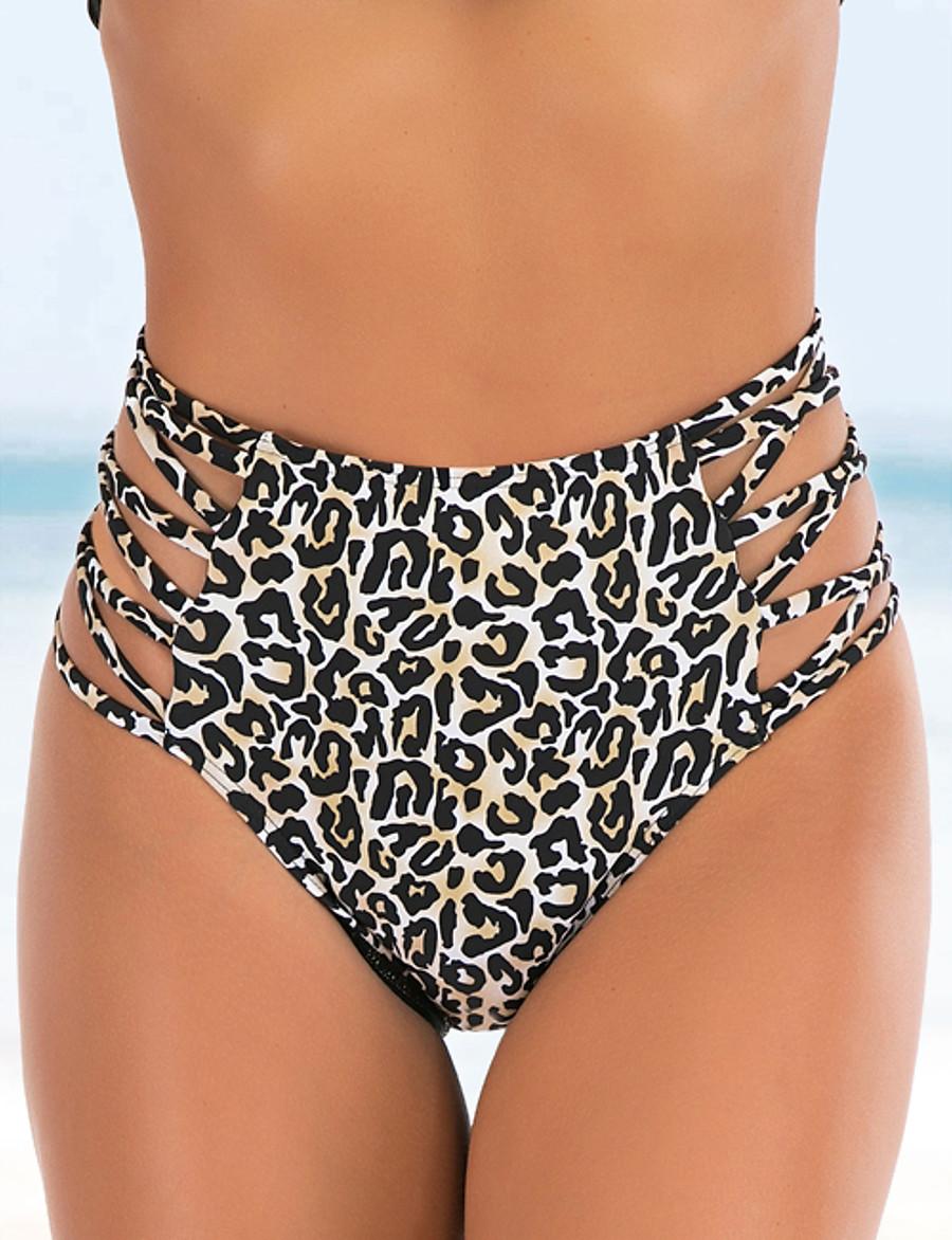 Women's Bikini Bottoms Swimsuit Leopard Swimwear Bathing Suits Brown