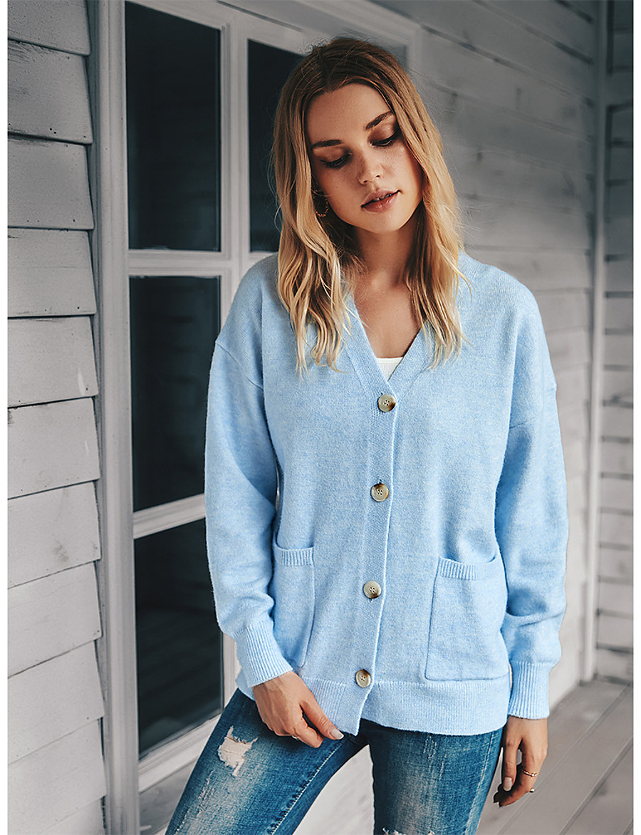 Women's Casual / Daily Solid Colored Cardigan Long Sleeve Sweater Cardigans V Neck Fall Winter Blue Green Gray