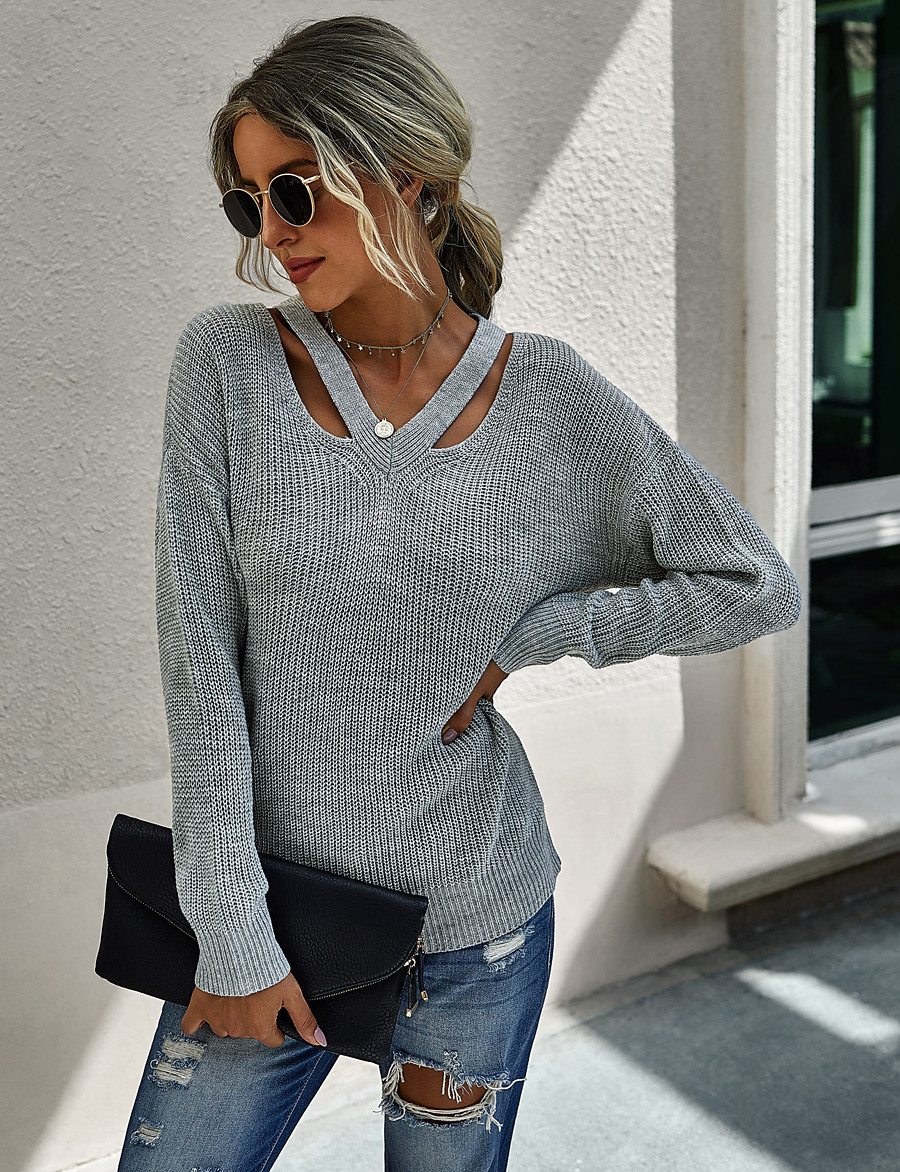 Women's Streetwear Knitted Hollow Out Solid Colored Pullover Acrylic Fibers Long Sleeve Loose Sweater Cardigans V Neck Fall Winter Blue Fuchsia Khaki