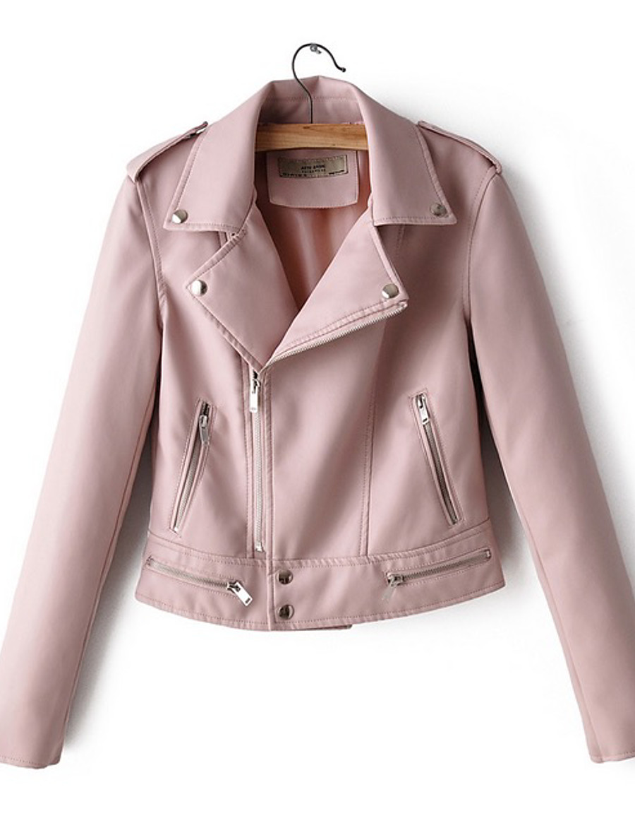 Women's Faux Leather Jacket Short Solid Colored Daily White Black Blushing Pink M L
