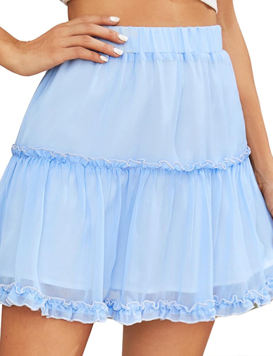 Femme Usage quotidien Jupes Couleur Pleine Bleu clair