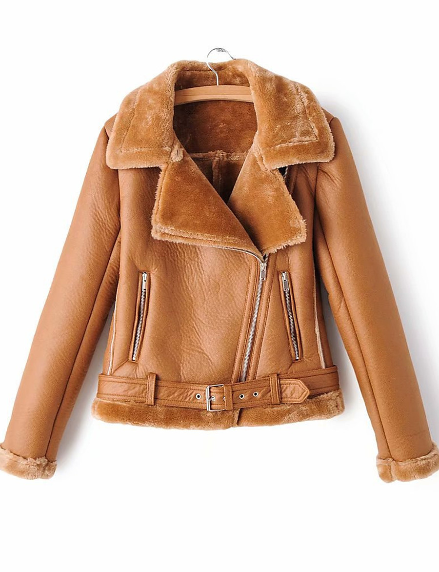 Women's Winter Faux Leather Jacket Short Solid Colored Daily Black Brown S M L XL