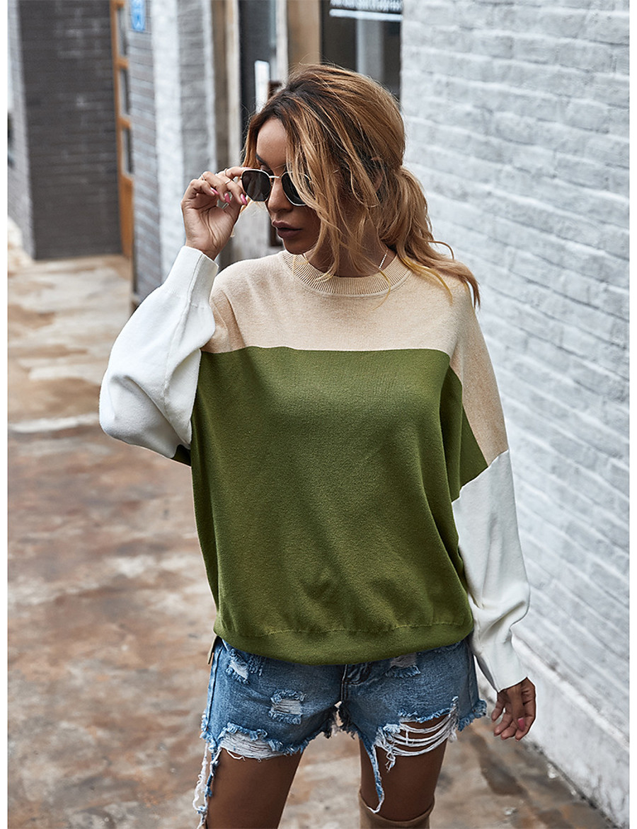 Women's Casual / Daily Color Block Pullover Long Sleeve Sweater Cardigans Round Neck Boat Neck Fall Winter Blue Orange Green
