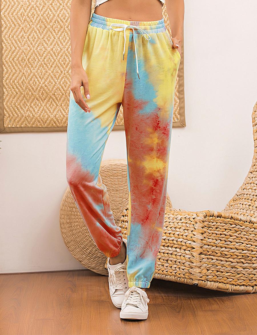 Femme Des sports Ample Quotidien Chino Pantalon Teinture par Nouage Cordon Rose Claire Fuchsia Orange / Hiver