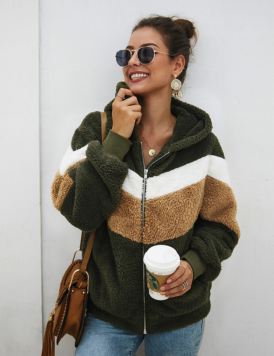 Women's Teddy Coat Regular Color Block Daily Basic Army Green S M L / Loose