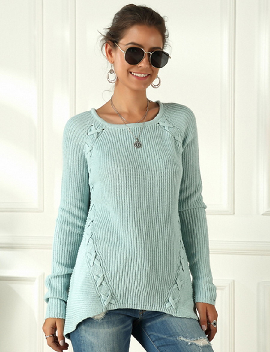 Women's Solid Colored Pullover Long Sleeve Loose Sweater Cardigans U Neck Fall Black Blue Wine
