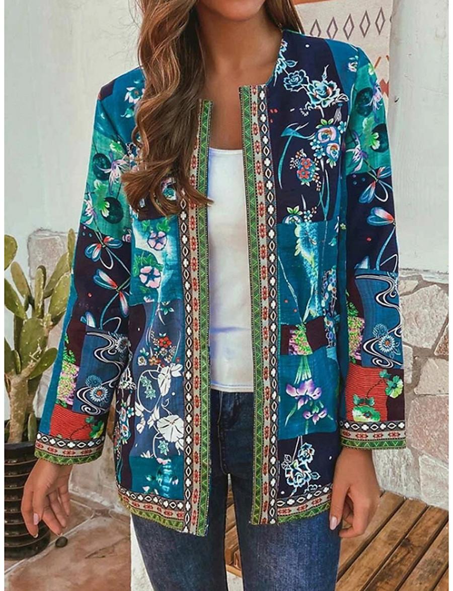 Women's Spring Jacket Regular Geometric Daily Ethnic Style Blue Red L XL XXL