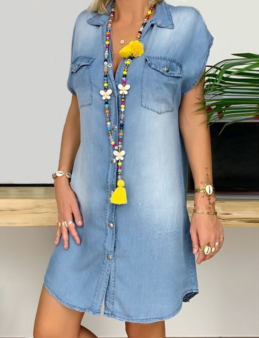 Women's Denim Shirt Dress Short Mini Dress - Short Sleeve Pocket Button Front Summer V Neck Plus Size Hot Casual 100% Cotton 2020 Blue S M L XL XXL