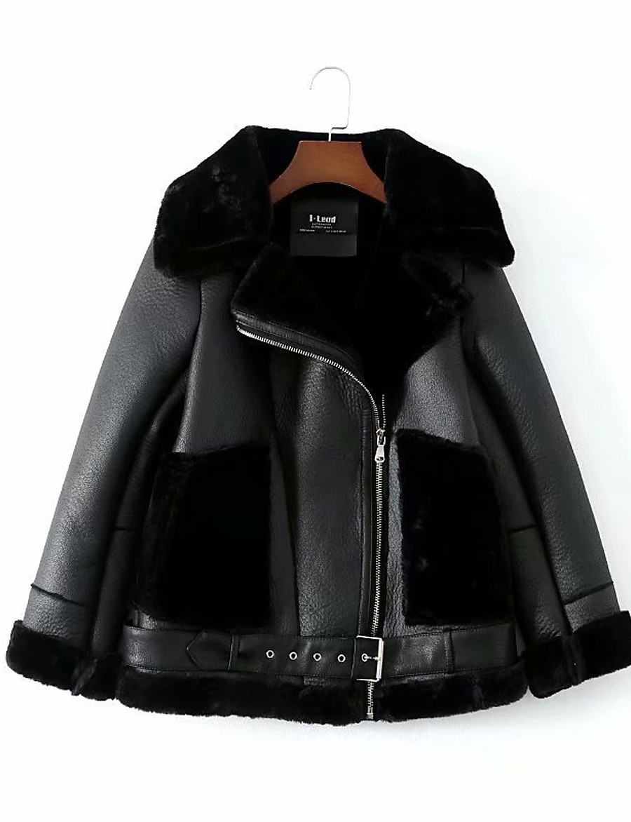 Women's Winter Faux Leather Jacket Short Solid Colored Daily Black S M L