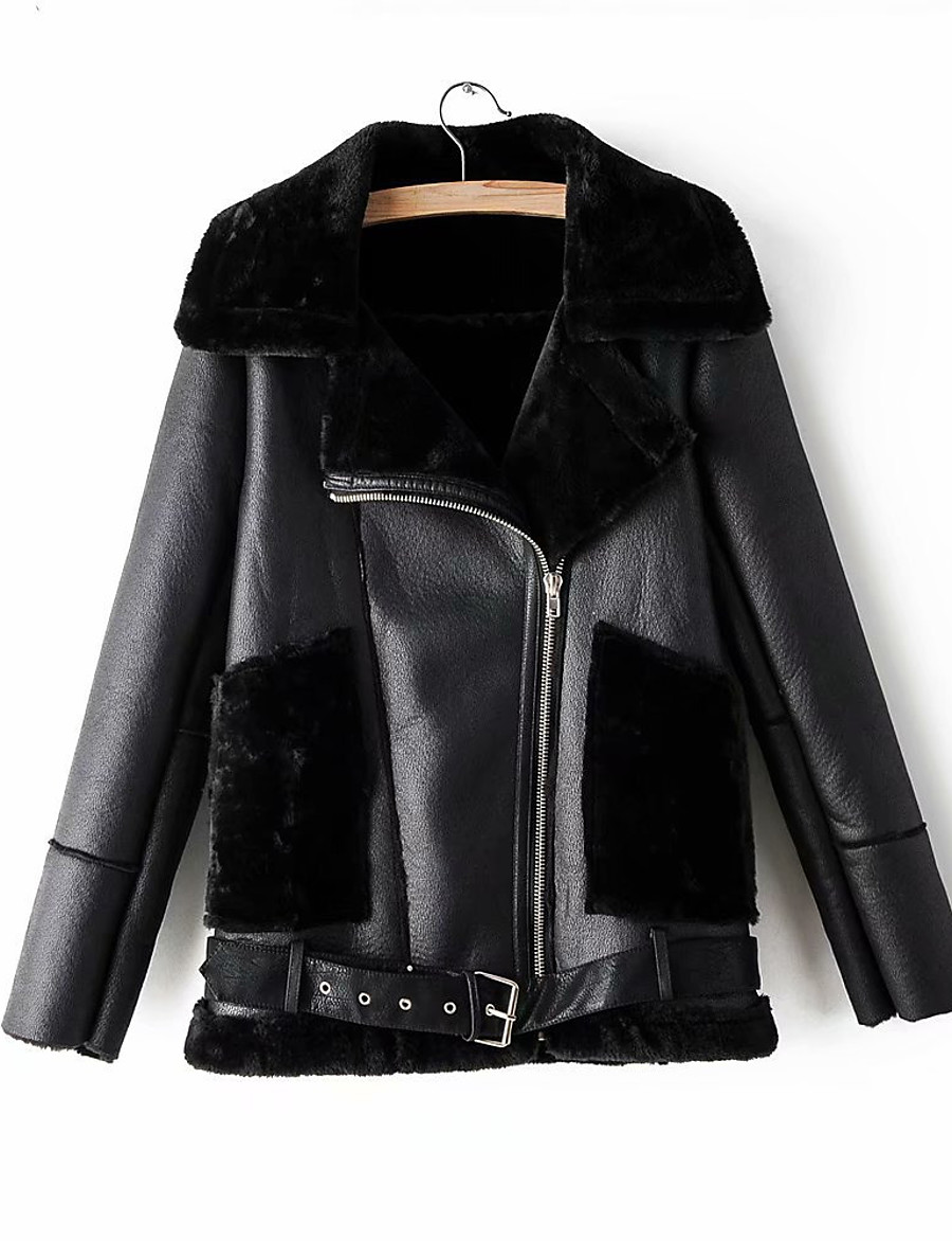 Women's Winter Faux Leather Jacket Short Solid Colored Daily Black S M L XL