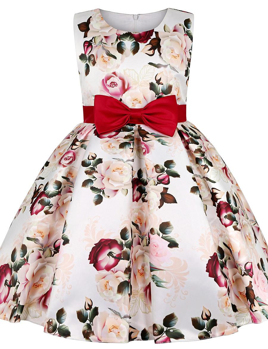 Kids Little Dress Girls' Floral Bow Beige Knee-length Sleeveless Sweet Dresses