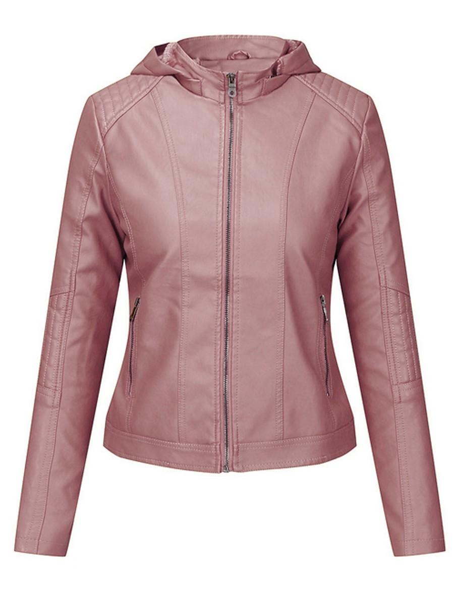 Women's Faux Leather Jacket Regular Solid Colored Daily Black Yellow Blushing Pink Khaki M L XL XXL