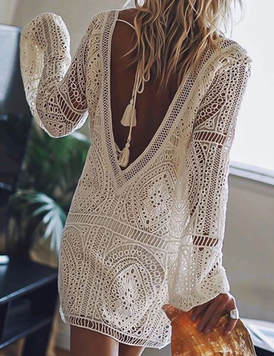 Women's Short Mini Dress - Long Sleeve Solid Color Lace Backless Summer Deep V Hot Sexy Beach Lace White Black Red Royal Blue S M L XL XXL