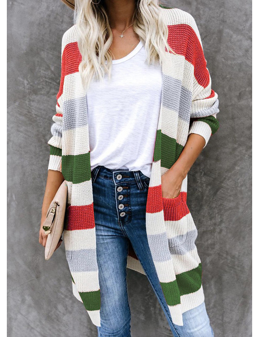 Women's Color Block Cardigan Long Sleeve Sweater Cardigans V Neck Fall Winter Blue Red Yellow