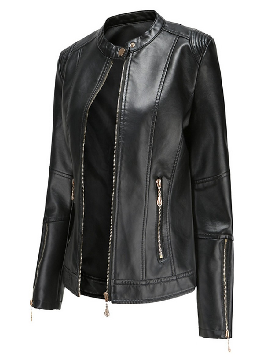 Women's Stand Collar Faux Leather Jacket Regular Solid Colored Daily Black Red Green Beige S M L XL