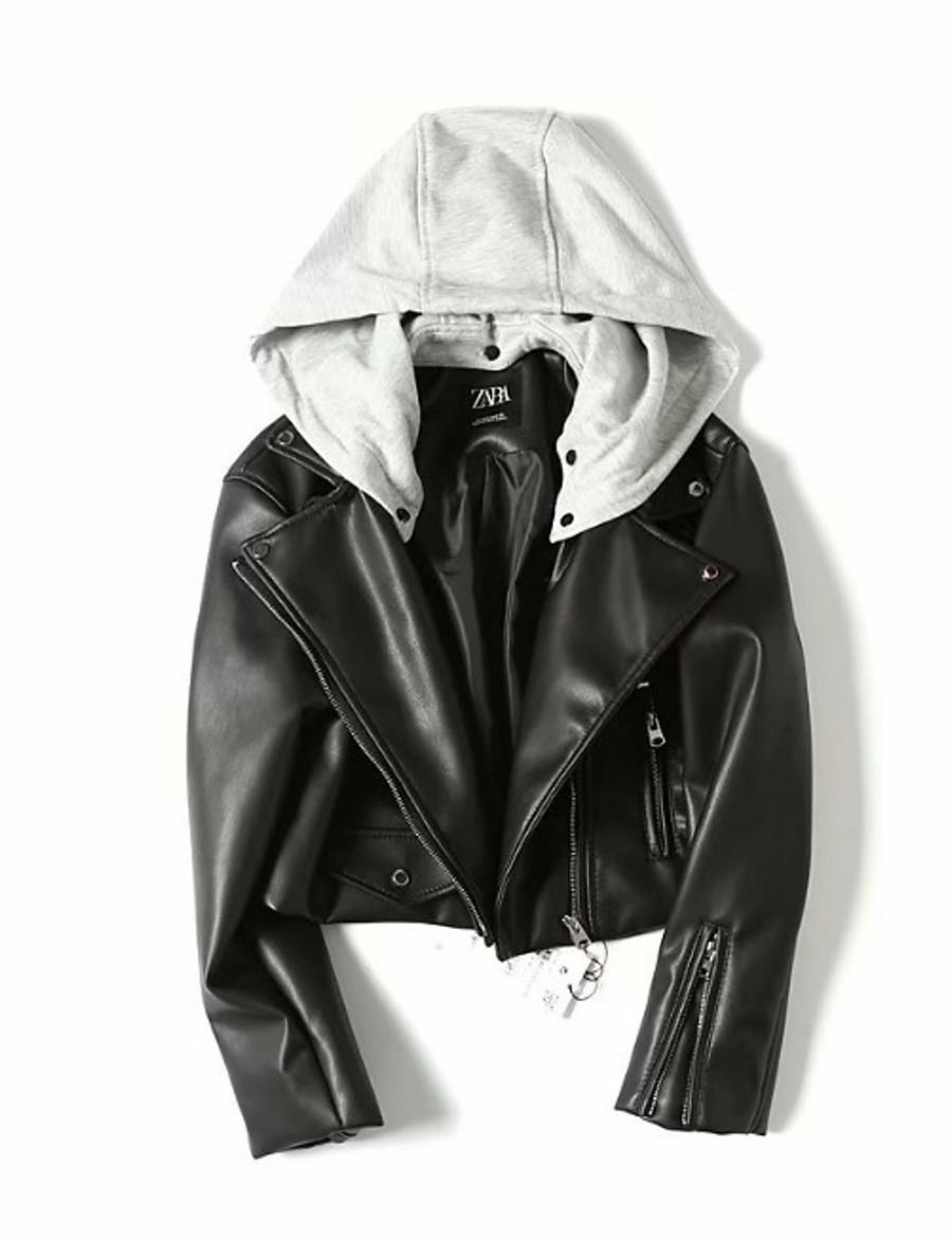 Women's Faux Leather Jacket Short Color Block Daily Black XS S M L