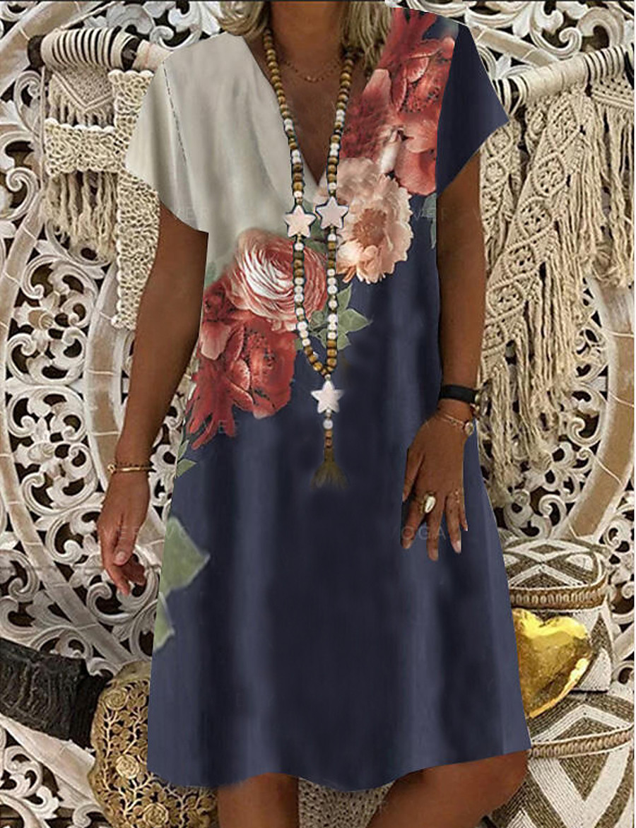 สำหรับผู้หญิง เดรสทรงตรง เดรสยาวระดับเข่า สีน้ำเงิน แขนสั้น ลายดอกไม้ เสื้อผ้าถัก ฤดูร้อน คอวี ร้อน ไม่เป็นทางการ ชุดวันหยุด 2021 M L XL XXL 3XL