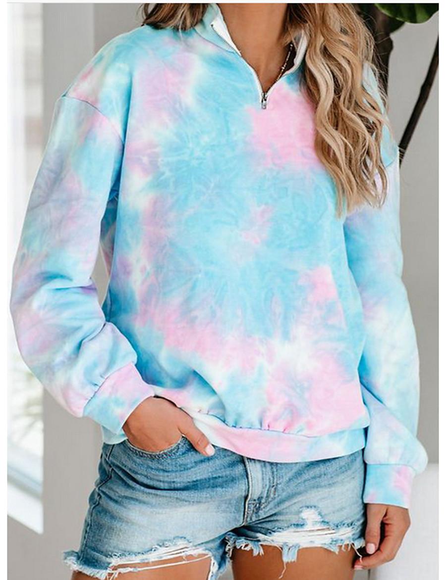 Women's Pullover Sweatshirt Tie Dye Quarter Zip Casual Hoodies Sweatshirts  Loose Oversized Blue Blushing Pink Light Blue