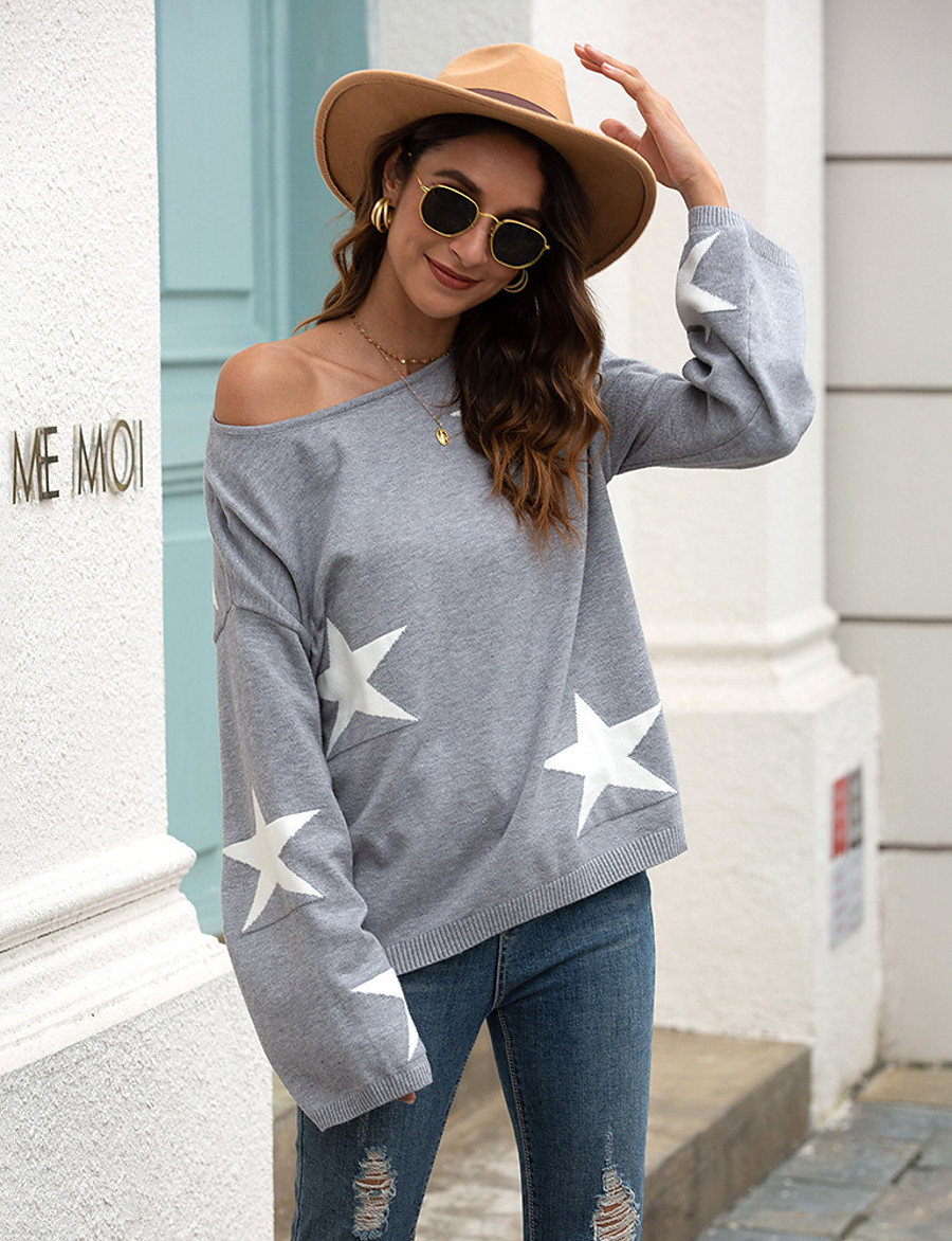 Women's Casual / Daily Print Geometric Pullover Long Sleeve Sweater Cardigans Boat Neck Fall Winter Khaki Gray