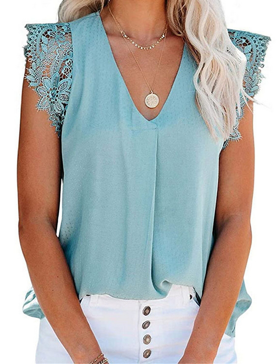 Women's T-shirt Solid Colored V Neck Tops Loose Basic Top White Blushing Pink Green