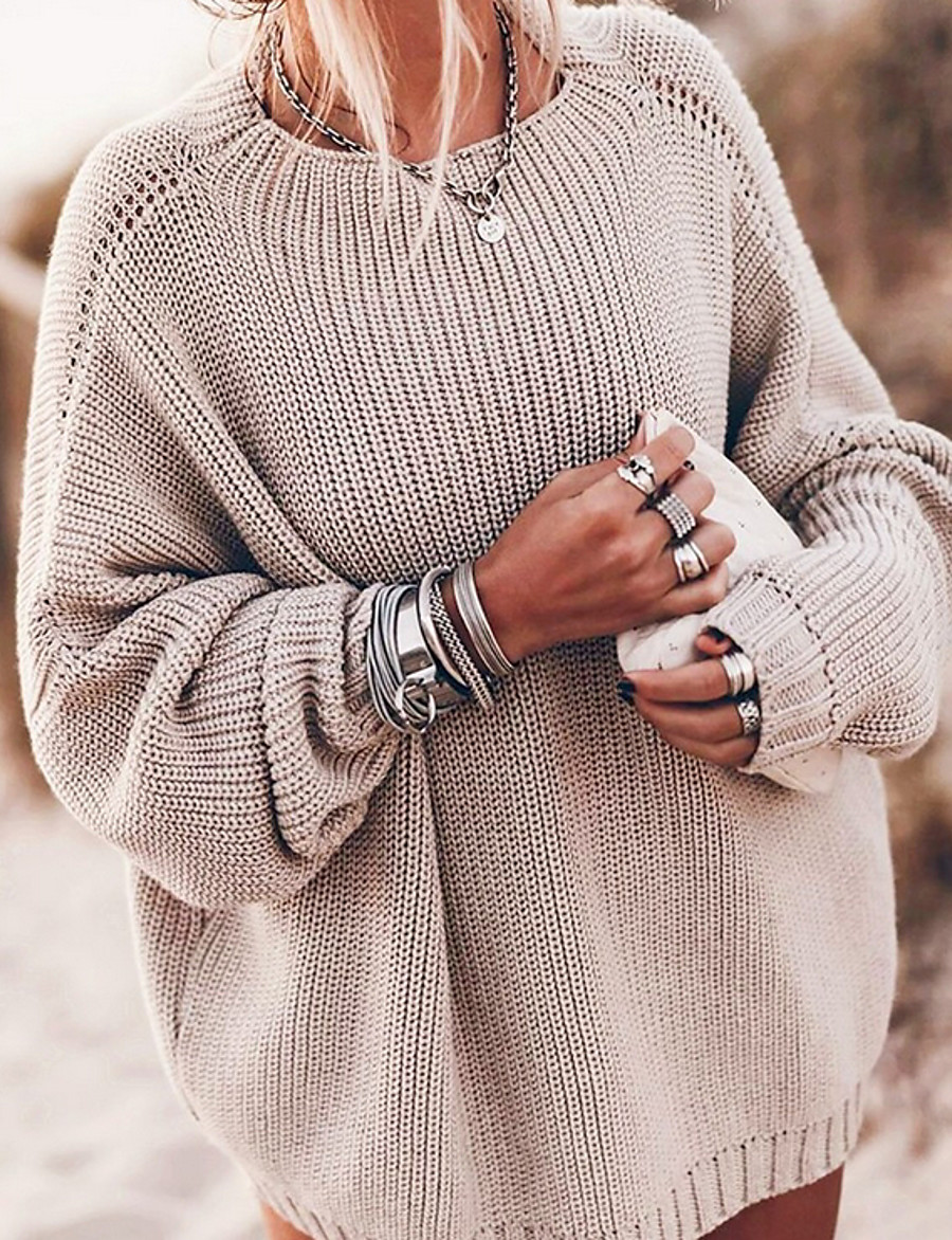 Women's Solid Colored Pullover Long Sleeve Sweater Cardigans Crew Neck Round Neck Fall Winter Blue Khaki