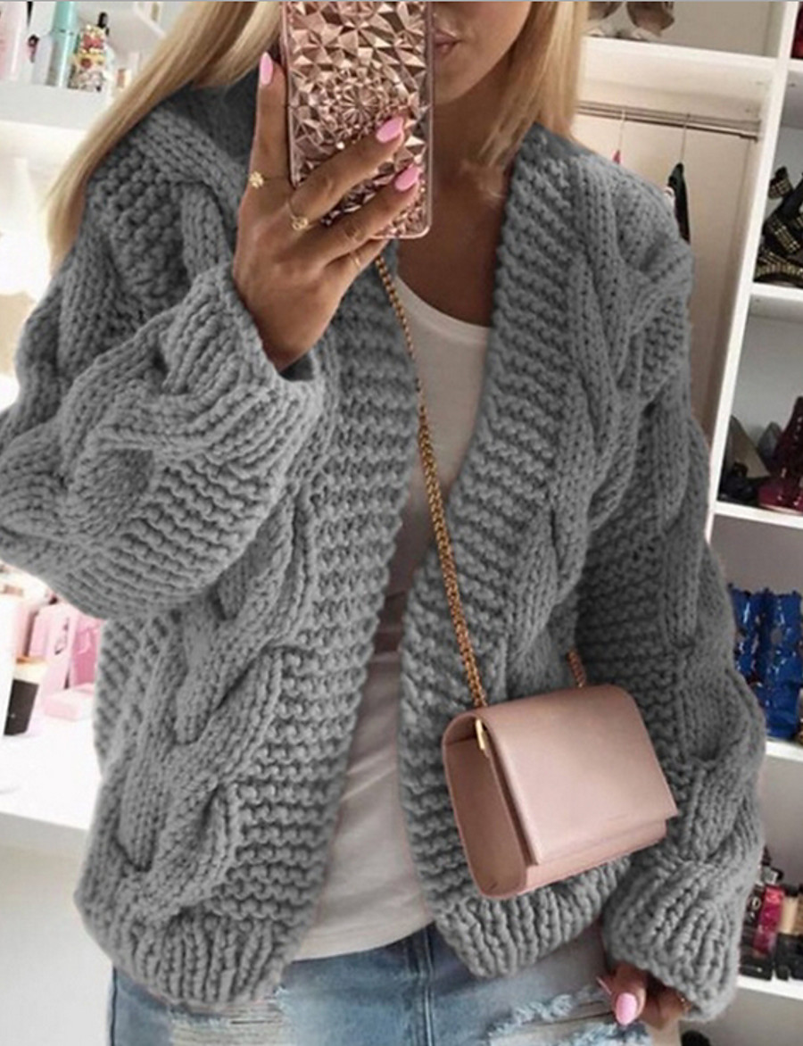 Women's Solid Colored Cardigan Long Sleeve Loose Sweater Cardigans Stand Collar Fall Winter White Black Wine