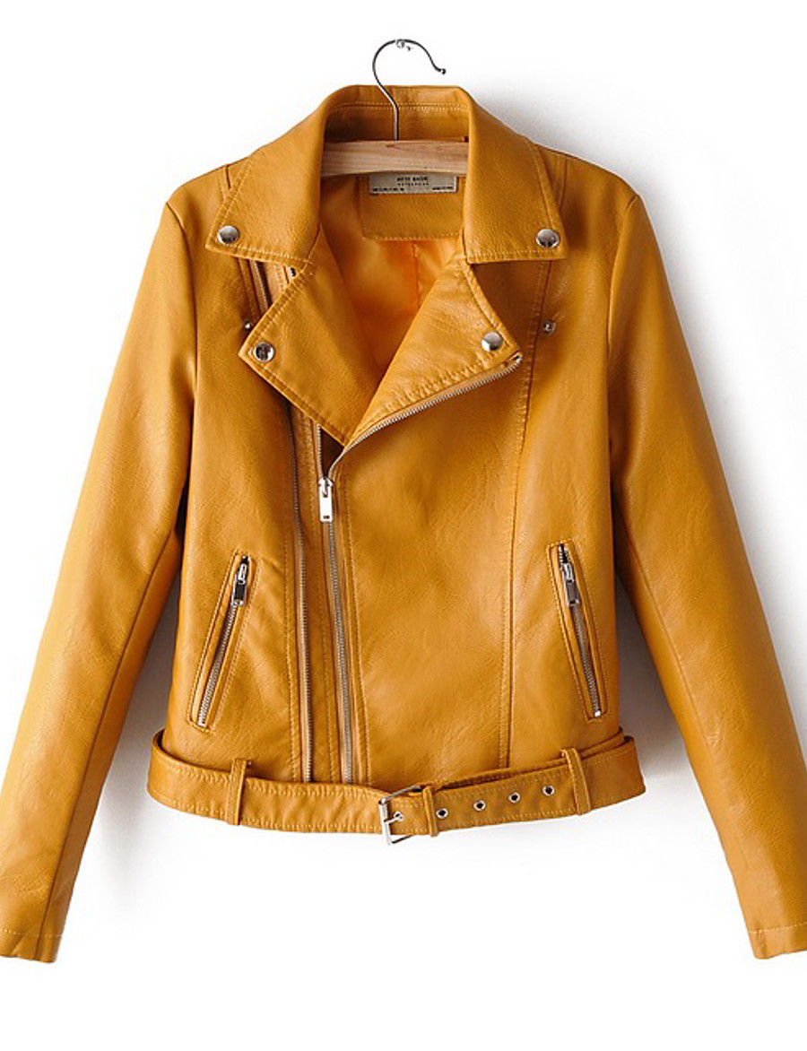 Women's Faux Leather Jacket Short Solid Colored Daily White Black Red Yellow M L XL