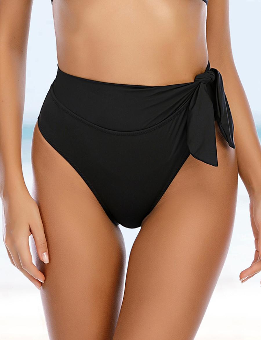 Women's Bikini Bottoms Swimsuit Solid Colored Swimwear Bathing Suits Black