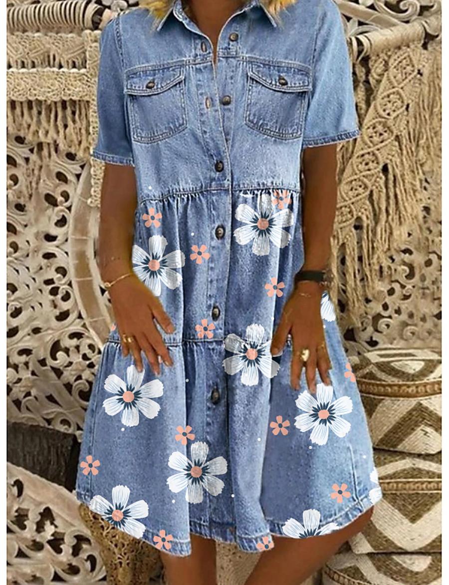 Women's Denim Shirt Dress Knee Length Dress Blue Short Sleeve Floral Pocket Button Spring Summer Shirt Collar Chic & Modern Casual 2021 M L XL XXL 3XL