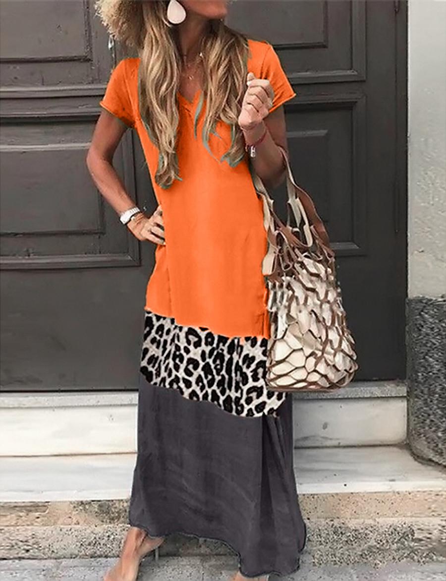 Women's Shift Dress Maxi long Dress - Short Sleeve Leopard Color Block Summer V Neck Casual Vacation Hot 2020 Black Orange Green Gray S M L XL XXL 3XL 4XL 5XL