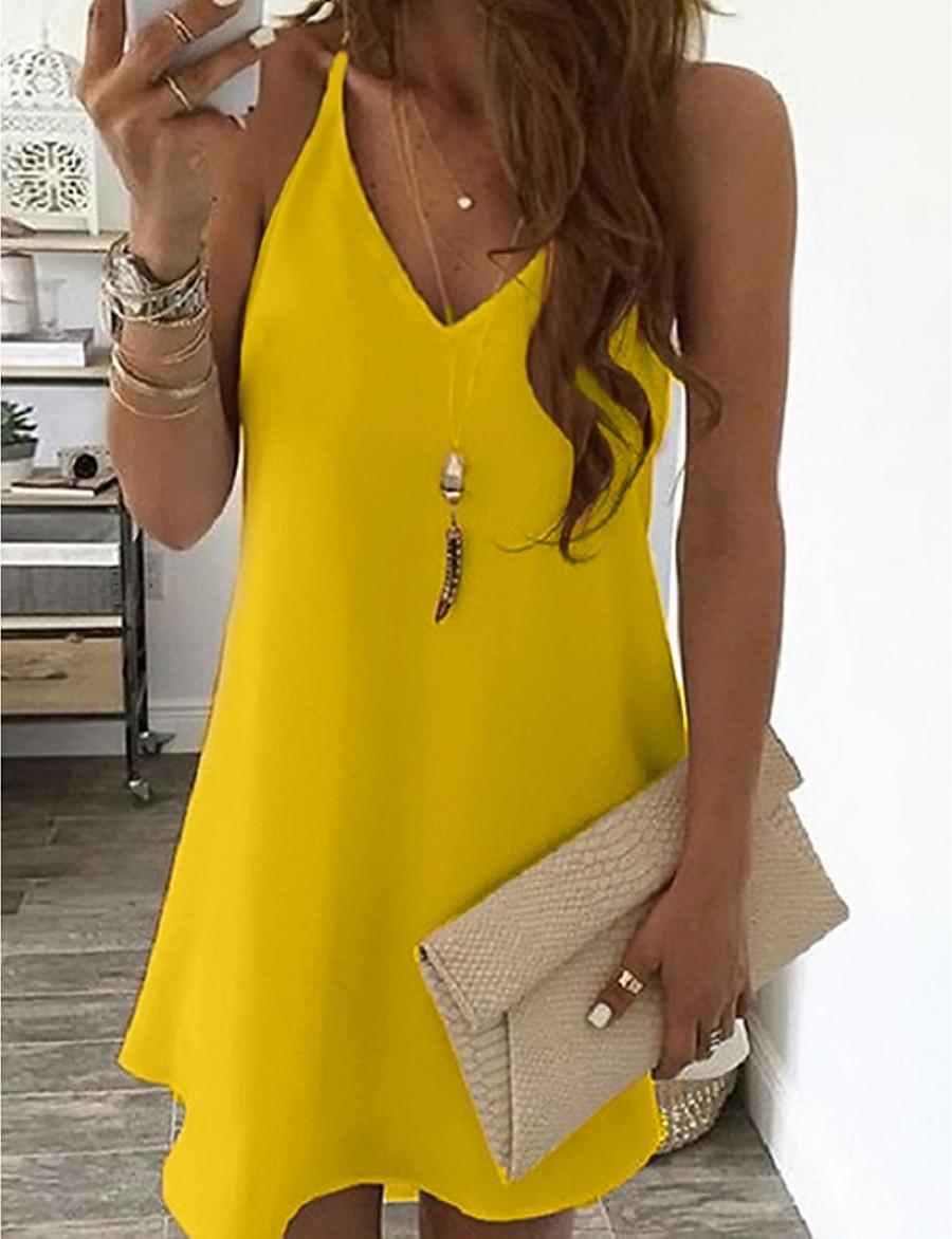 Women's Strap Dress Short Mini Dress Blue Yellow Blushing Pink White Black Light Blue Sleeveless Solid Color Summer V Neck Casual Sexy 2021 S M L XL XXL 3XL