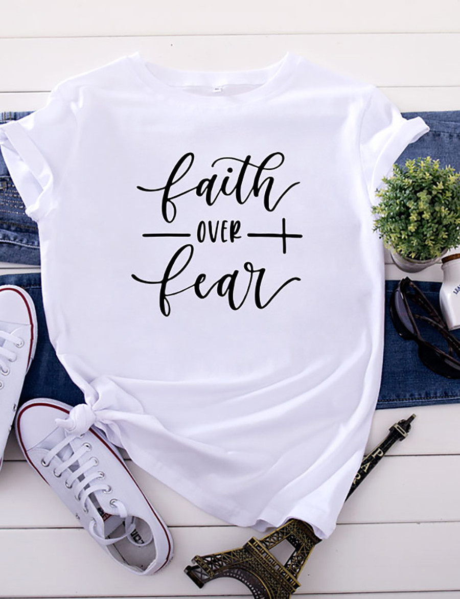 Women's Faith T-shirt Letter Print Round Neck Tops 100% Cotton Basic Basic Top White Black Yellow