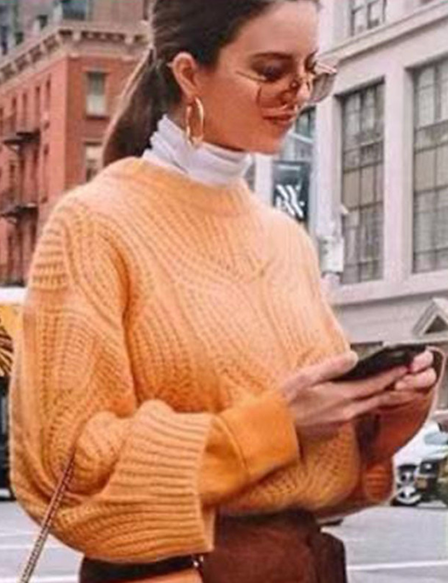 Women's Solid Colored Pullover Long Sleeve Loose Sweater Cardigans Crew Neck Round Neck Orange