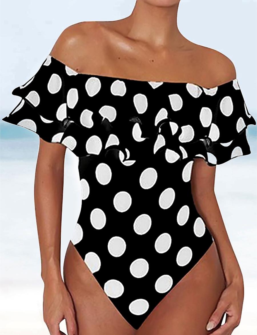 Women's Vintage Tankini Swimsuit Tummy Control Ruffle Slim Padded Plus Size Swimwear Bathing Suits White Black / One Piece